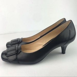Cole Haan | Black Leather Square Toe Kitten Pump